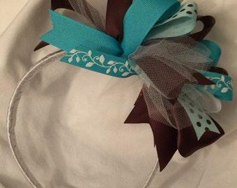 Brown and Aqua Wrapped Headband - Brown and Teal Headband