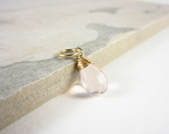 Light Pink Stone Charms - Genuine Rose Quartz Pendants - 14k Gold Pendant - Natural Rose Quartz Jewelry - Wire Wrapped Pendant - JustDangles