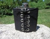 Hip Flask Black Corcodile Leather Corset Cuff Wrap on Stainless Steel with Funnel Biker Rocker Goth Gifts for Groomsmen Wedding Gift  Z1010