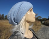 Cashmere Slouchy Beanie Hat Woman's Baby Blue Knit Slouch Tam Light Blue 100% Pure Cashmere A1717