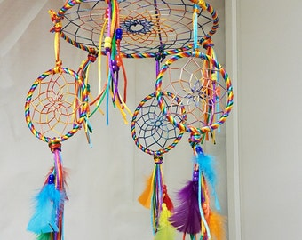 Dream Catcher Mobile , rainbow mobile , rainbow dream catcher