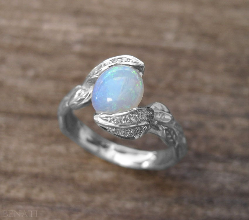 Opal Engagement Ring Opal Leaves Ring Opal Ring Gold