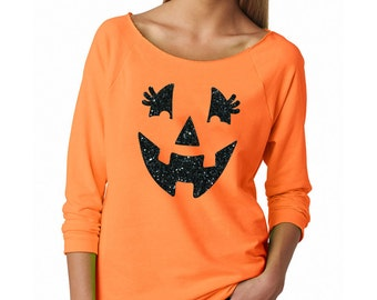 Halloween Shirts, Women's Halloween Shirts, Glitter Jack O Lantern, Pumpkin Face, Halloween Sweatshirt, Halloween Shirts for Women