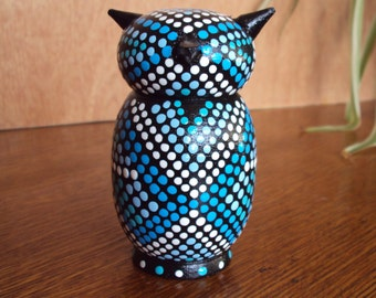 Handpainted Black Owl Wood with Dots and Geometric Designs/Figurine/Home Decor/Desktop/Accent Colors/Bright Blue/Light Blue/White