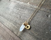 Tiny Moonstone Spike & Crescent Star Necklace - 14K Gold Fill Chain