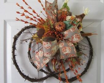 Pumpkin Wreath, Scarecrows, Halloween Decoration, Autumn Wreath, Front Door Wreath, Grapevine Pumpkin, Fall Wreath, Gift Wreath