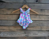 SUPER SALE - Vintage Children's Blue & Pink Floral and Fruit Bathing Suit by Candlesticks Size 12 Months