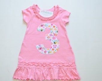 Girls 3rd Birthday Dress, Butterflies Bees Spring, Applique Number 3, Pink Short Sleeve Tunic, Ready to Ship, Size 3, White and Pink, 4T 3T