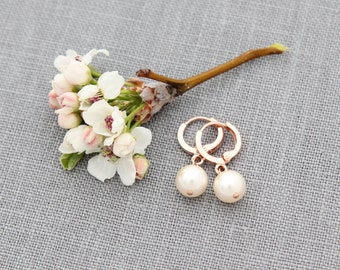 Rose Gold Hoop Earrings, Wedding Jewelry, Pearl Rose Gold Earrings, Modern, Classic Bridesmaids Earrings, Everyday Jewelry
