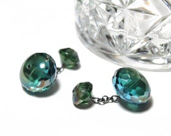 Faceted Green Blue Crystal Cufflinks, Mens Cufflinks with Faceted Blue Green Crystals Handmade Cufflinks