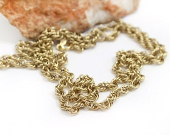 """Vintage 14k Yellow Gold Rope Chain 25"""" 4mm Thick"""