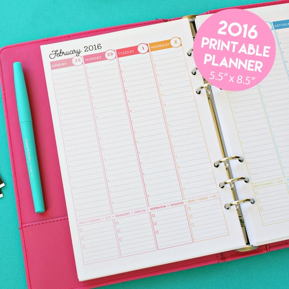 Items similar to 2016 Weekly Planner Printable Pages | Weekly ...