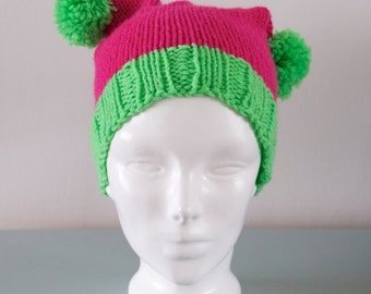Pink Double Pom Pom Hat - Green Knitted Beanie Hat Merino Wool Acrylic Fun Winter Accessory Gift for Her by Emma Dickie Design