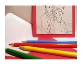 Valentine's Card Coloring  Heart Rain -Love You drawing gift people paper