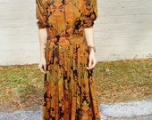 witchy woman dress southwestern paisley print button back woman vintage retro dress 90s bold shoulder keyhold flowy skirt size medium boho