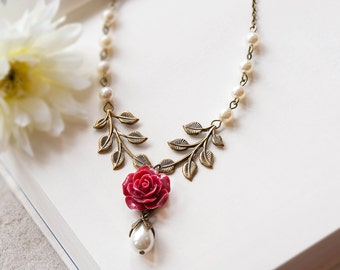 Burgundy Maroon Marsala Dark Red Necklace Rose Flower Leaf Cream White Pearl Wedding Bridal Necklace Bridesmaid Gift Winter Fall Wedding
