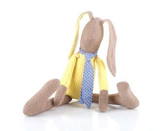 SMALL Stuffed baby bunny doll, plush softie rabbit doll - brown rabbit doll in dotted yellow shirt & blue scarf- softie gift for baby shower