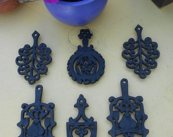 Vintage Set of Six Mini Cast Iron Trivets