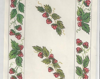 Design Craft Inc. Strawberry Garland Vintage Decals, 1974