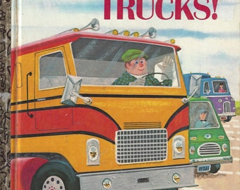 Let's Go, Trucks! Little Golden Book Vintage Children's Book, C1973