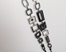 Long metal necklace, silver color - Rectangles and squares - Modern jewelry -  Different - Handmade by Malins Caprices Bijoux