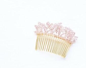 First Snow Swarovski Vintage Rose Crystals Hairpiece