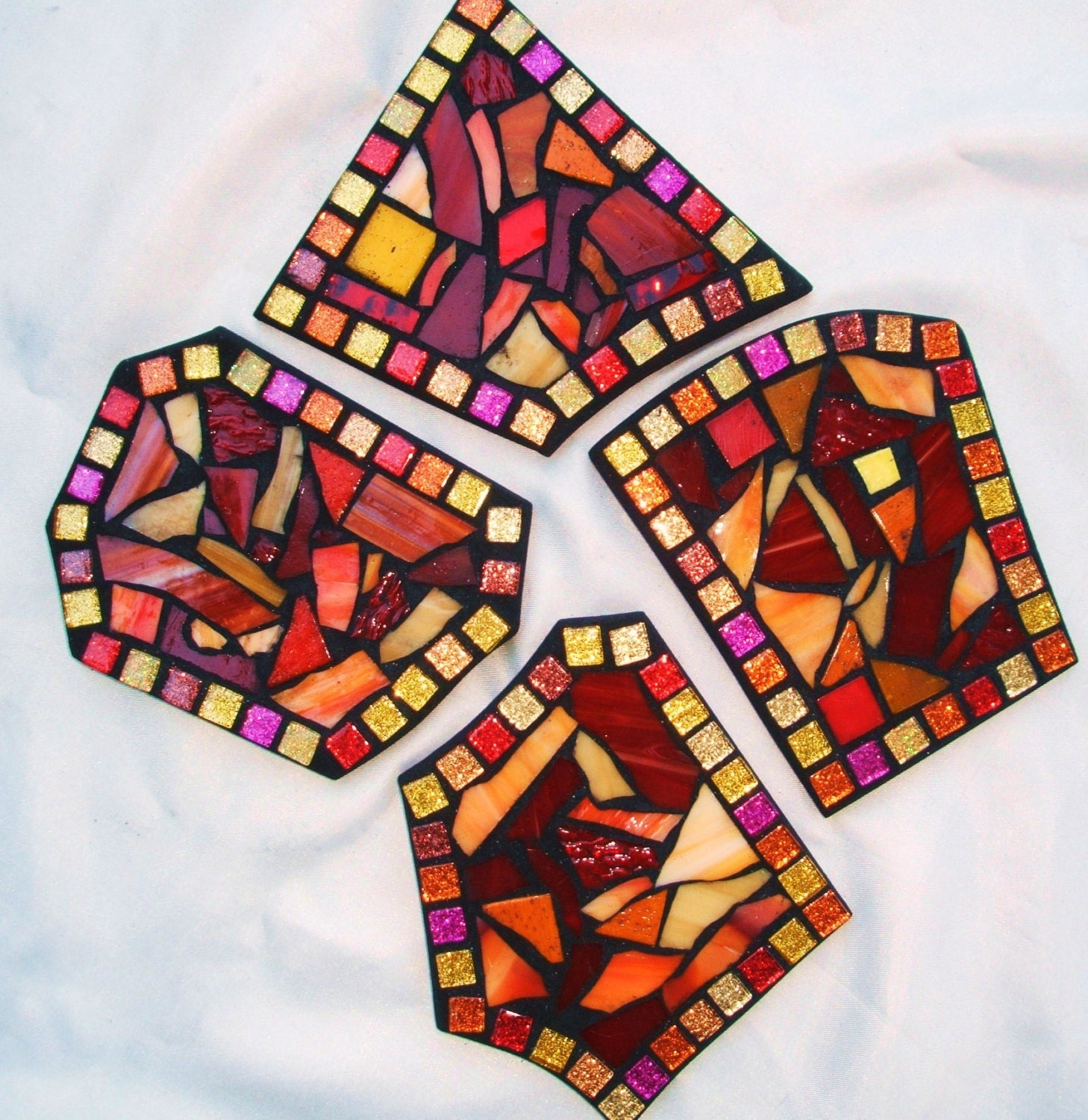 Custom drink coasters funky shaped or square mosaic coasters for Handmade drink coasters