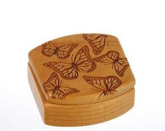Wooden Box, Solid Cherry, Butterflies, Pattern MS7 Butterfly, Masterpiece Laser, Paul Szewc