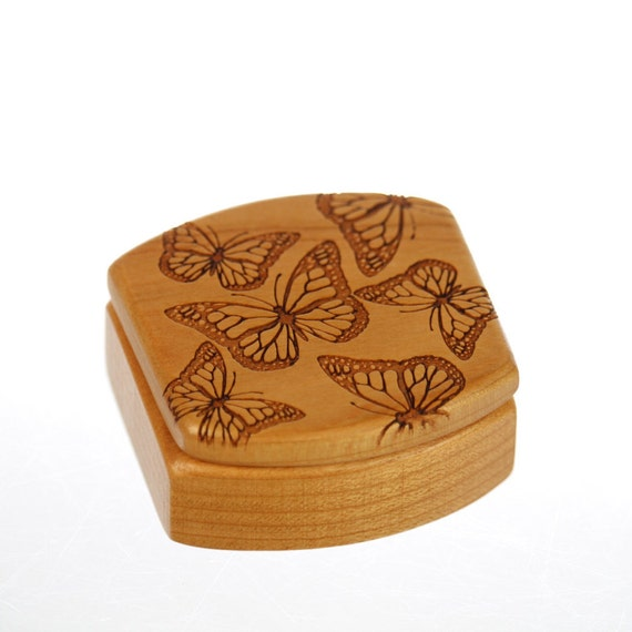 Wooden Box, Solid Cherry, Butterflies, Pattern MS7 Butterfly, Masterpiece Laser, Paul Szewc