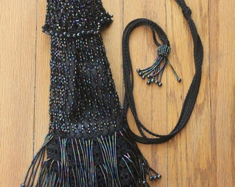 Vintage 90's Black Satin Crochet Aurora Borealis Beaded Fringe Flapper Drawstring Pouch Purse