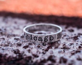 Chicago Marathon Ring - Personalized Ring - Stamped Ring - Running Ring - Inspirational Ring - 26.2 Ring
