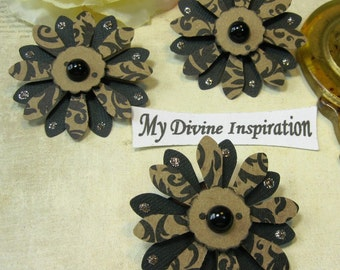 Light Brown and Black Handmade Paper Embellishments, Paper Flowers for Scrapbook Layouts Cards Mini Albums Tags and  Paper Crafts