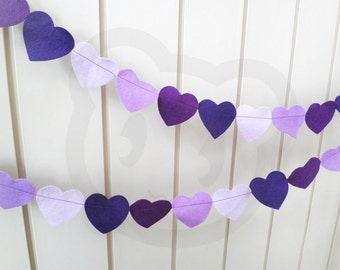 Purple Heart Garland - made with purple shades of wool blend felt, perfect for kids room or birthday celebrations.