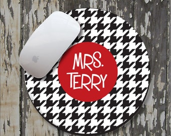 HOUNDSTOOTH Personalized Mouse Pad, Personalized Mousepad, Monogrammed Mouse Pad, Monogrammed Mousepad, Custom Mouse Pad, Custom Mousepad