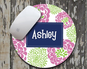 PETAL PEONY Personalized Mouse Pad, Personalize Mousepad, Monogrammed Mouse Pad, Monogrammed Mousepad, Custom Mouse Pad, Custom Mousepad