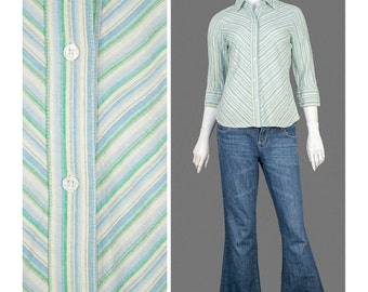 30% 0FF SALE 90s Shirt Chevron Striped Blouse Cotton Linen Blouse Blue White Green Button Up Shirt Oxford Shirt 1990s Blouse