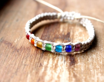 Hemp Jewelry, Natural Hemp Bracelet with Rainbow Beads, Rainbow Jewelry
