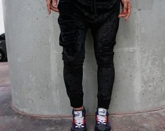 SALE Black Crushed Velvet Drop Crotch Pants / Womens Harem Pants / Womens Joggers / Handmade by GAG THREADS