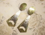 Large Brass Silver Dangle Earrings Statement 1980s Clip On Boho Abstract