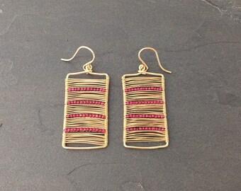 14k gold Wire Wrapped Rectangle Earrings with Garnets; Minimalist Earrings Modern Earrings Dainty Jewerly