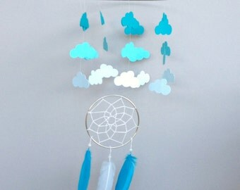 Feather Mobile, Baby Mobile, Dream Catcher Mobile, Cloud Mobile, Turquoise Feather Mobile, Boho Baby Mobile, Boho Nursery Mobile