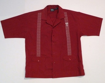 Guayabera shirt Vintage Dark Red Mexican Wedding Shirt 1980s Mens Medium to Large Embroidered Tropical Shirt Valentines Day Christmas Marron