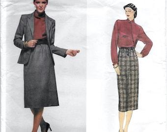 Vogue American Designer 2283 Calvin Klein Misses 70s Jacket, Skirt & Blouse Sewing Pattern Size 14 Bust 36