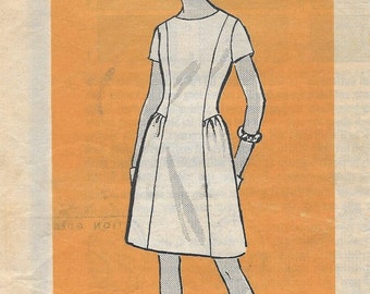 Anne Adams Mail Order 4974 Women's 60s Shift Dress Sewing Pattern Size 14 Bust 34