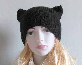Hand Knit Cat Ear Hat, Kitty Cat Hat, Animal Ear Hat, Women Knit Hat Goth Hat Black Hat Women Knit Hat Hallow Halloween Hat