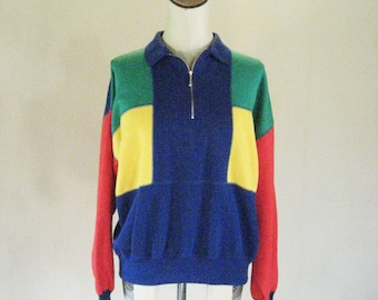 1990s Starting Point Colorblock Pullover Sweater Top