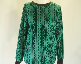 Green Zig Zag Striped Velour Sweater Top