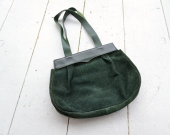 1970s Forest Green Suede Handbag