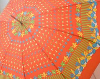 1950s Floral Print Umbrella