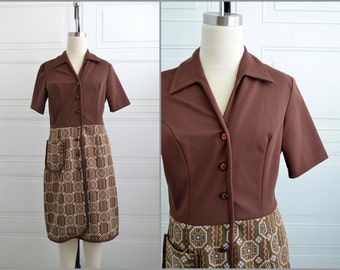 1970s Georgia Griffin Brown Shirt Dress